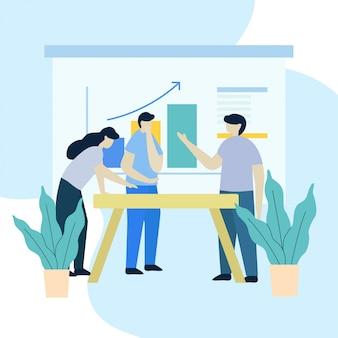 Ilustracja pracy zespołowej biznesu