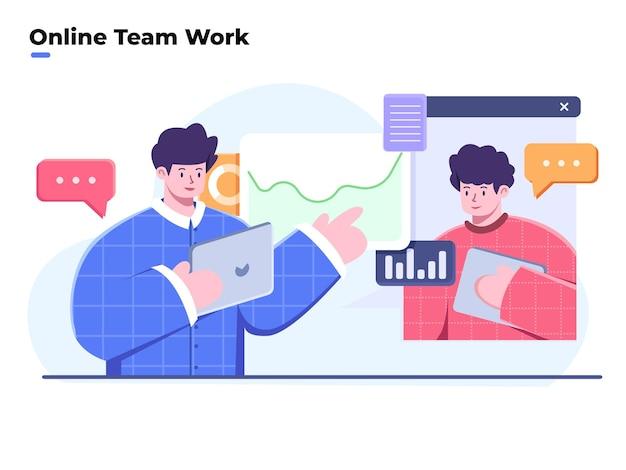 Ilustracja pracy zespołowej i analizy biznesowej z wideokonferencją lub spotkaniem online