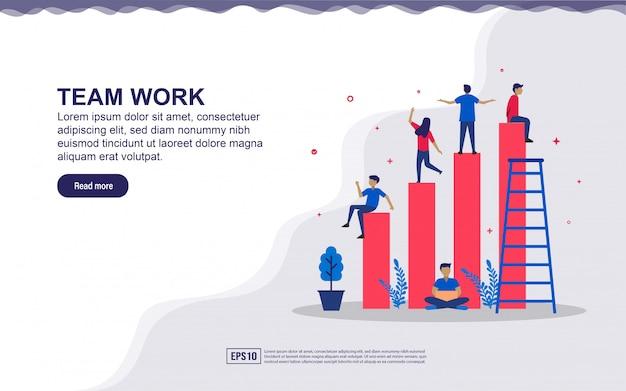 Ilustracja pracy zespołowej i rozwoju biznesu z wykresem i drobnymi ludźmi. ilustracja do strony docelowej, treści w mediach społecznościowych, reklamy.