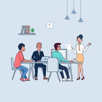 Ilustracja pracy zespołowej na spotkaniu