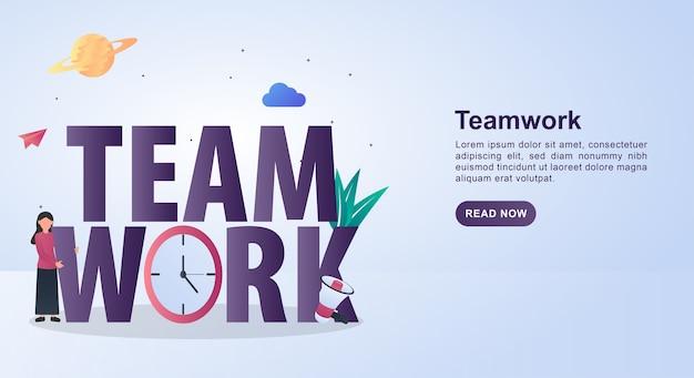 Ilustracja pracy zespołowej z zegarem i megafonem.