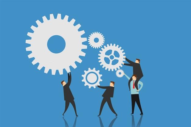 Ilustracja pracy zespołowej zorganizować bieg. biznesowa pojęcie ilustracja