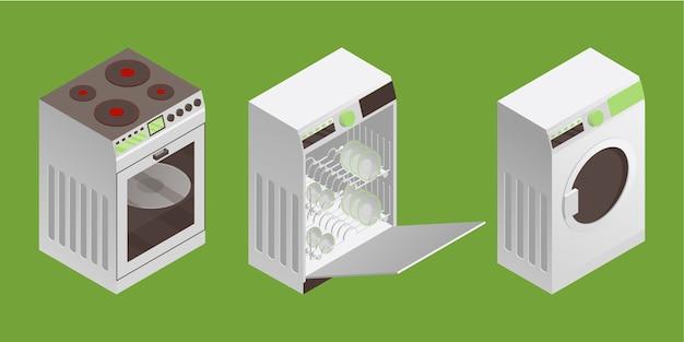 Ilustracja pralka, zmywarka do naczyń i kuchenka elektryczna w izometrycznym stylu.