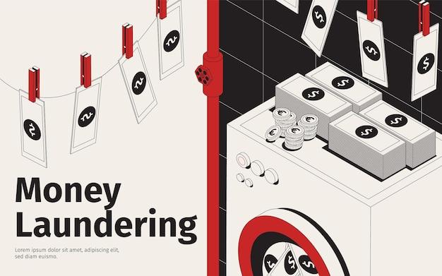 Ilustracja prania brudnych pieniędzy