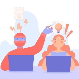 Ilustracja praw autorskich do plagiatu