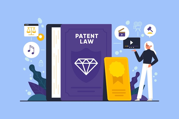 Ilustracja praw autorskich do prawa patentowego