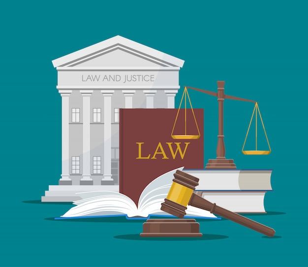 Ilustracja prawa i sprawiedliwości w stylu płaski.