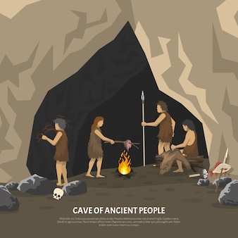 Ilustracja prehistoryczne jaskini