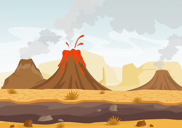 Ilustracja prehistorycznego krajobrazu z erupcją wulkanu, lawy i zadymionego nieba, krajobraz z górami i wulkanami