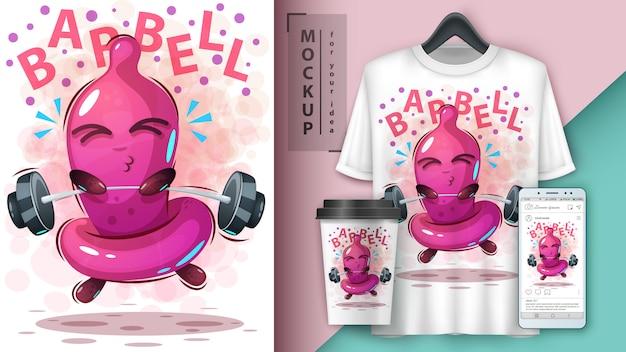 Ilustracja prezerwatywy sportowej i merchandising