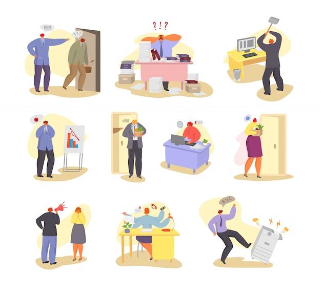 Ilustracja problemów w pracy, ludzie pracujący mają ręcznie rysowane zestaw problemów biurowych.