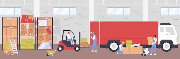 Ilustracja procesu dostawy do magazynu. kreskówka ludzie robotnicy płascy używający wózka widłowego do ładowania skrzynek do dostarczania ciężarówki, pracujący w budynku magazynu, tło usługi logistyczne