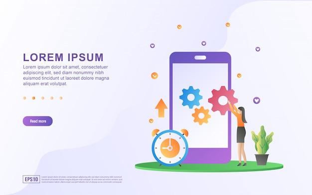 Ilustracja procesu naprawy i aktualizacji systemu ikonami smartfona i sprzętu