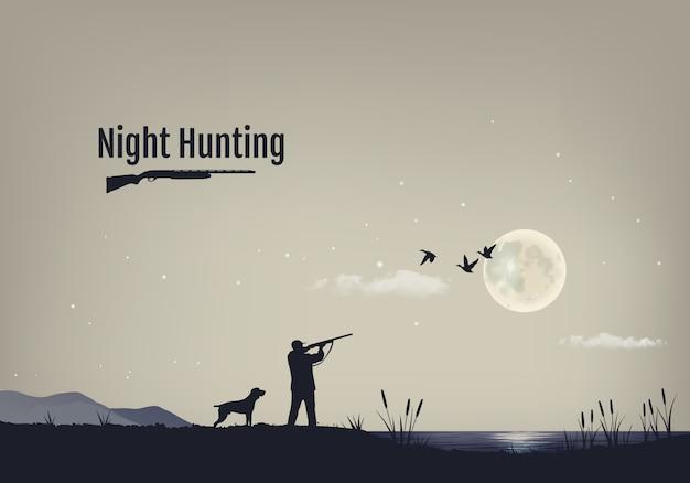 Ilustracja procesu polowania na kaczki w nocy.