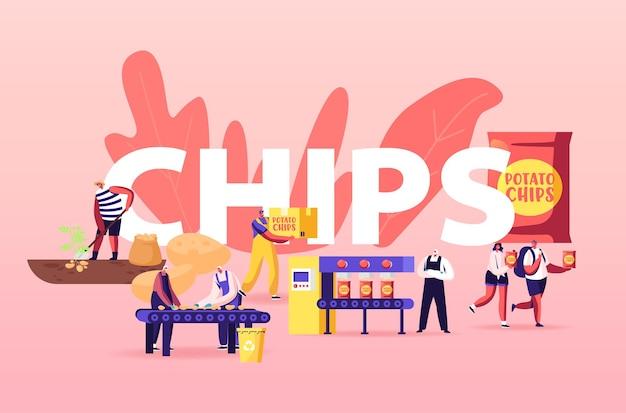 Ilustracja produkcji chipsów ziemniaczanych. ludzie produkują przekąski.