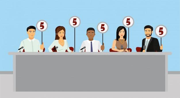 Ilustracja profesjonalnej konkurencji ocenia jury gospodarstwa tablety z oszacowaniami w stylu płaskiej.