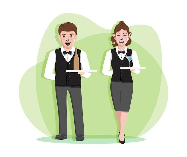Ilustracja profesjonalnych kelnerów