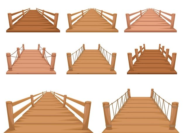 Ilustracja projekt drewniany most na białym tle