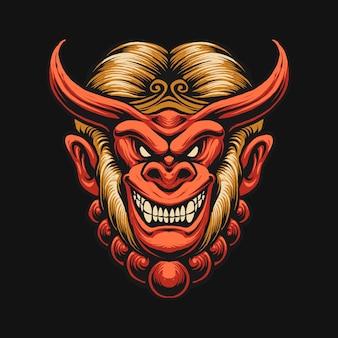Ilustracja projekt głowy króla małpy diabła