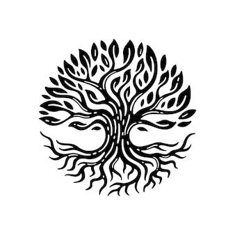 Ilustracja projekt korzenia drzewa w stylu vintage