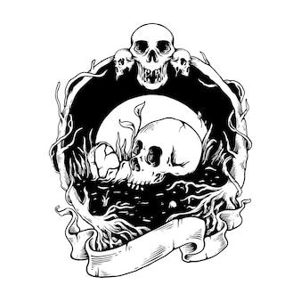 Ilustracja projekt koszulki ciemnej czaszki