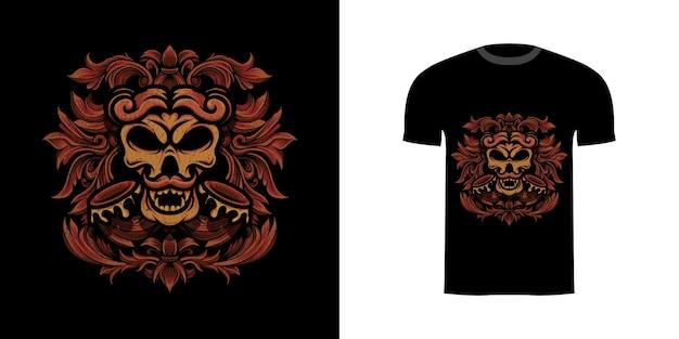 Ilustracja projekt koszulki czaszka wojskowa z ornamentem grawerującym