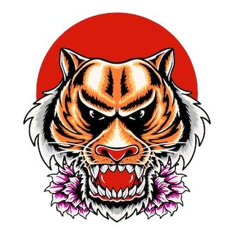 Ilustracja projekt koszulki z głową tygrysa
