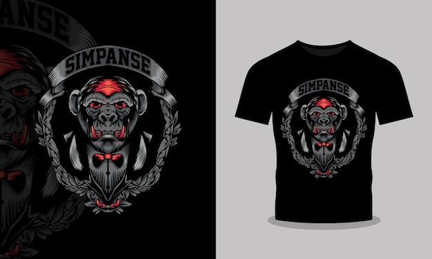 Ilustracja projekt koszulki zły szympans
