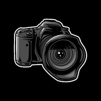 Ilustracja projekt logo aparatu dslr