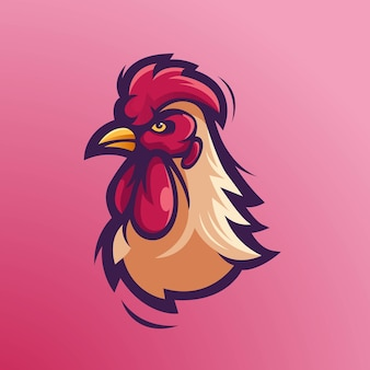 Ilustracja projekt logo głowy koguta