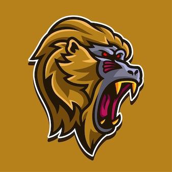 Ilustracja projekt logo maskotka złotej małpy