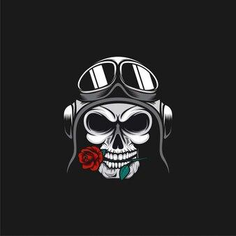Ilustracja projekt logo pilota czaszki