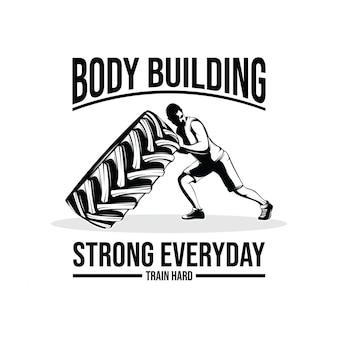 Ilustracja projekt logo siłowni i fitness