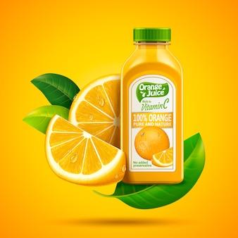 Ilustracja projekt opakowania soku pomarańczowego