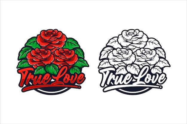 Ilustracja projekt prawdziwej miłości czerwonych róż