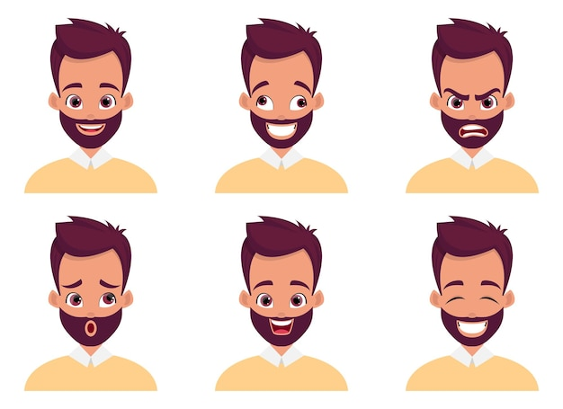 Ilustracja projekt wyrażenie twarz człowieka na białym tle
