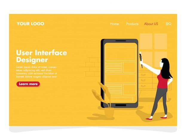 Ilustracja projektanta interfejsu użytkownika dla strony docelowej
