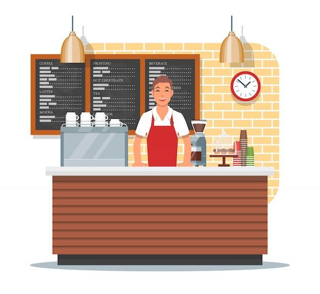 Ilustracja projektowania kawiarni z baristą, płaski
