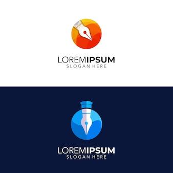 Ilustracja projektowania logo pióra z okręgiem
