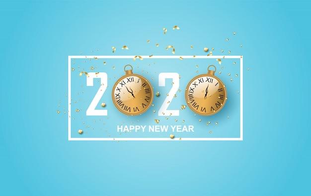 Ilustracja projektu etykiety szczęśliwego nowego roku 2020.