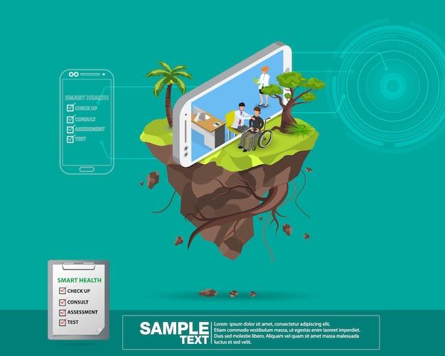 Ilustracja projektu izometrycznego inteligentnego mobilnego zdrowia 3d - śledzić swój stan zdrowia za pomocą urządzeń