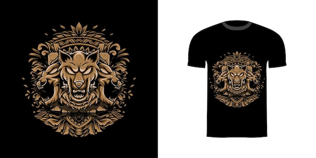 Ilustracja projektu koszulki cerberus z ornamentem grawerującym