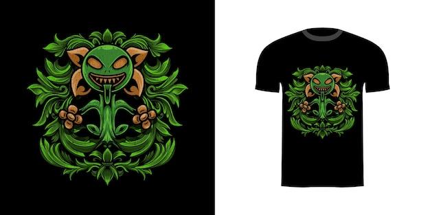 Ilustracja projektu koszulki potwór roślina z ornamentem grawerującym