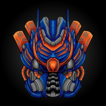 Ilustracja projektu logo maskotki robota