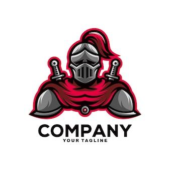 Ilustracja projektu logo maskotki spartańskiego wojownika