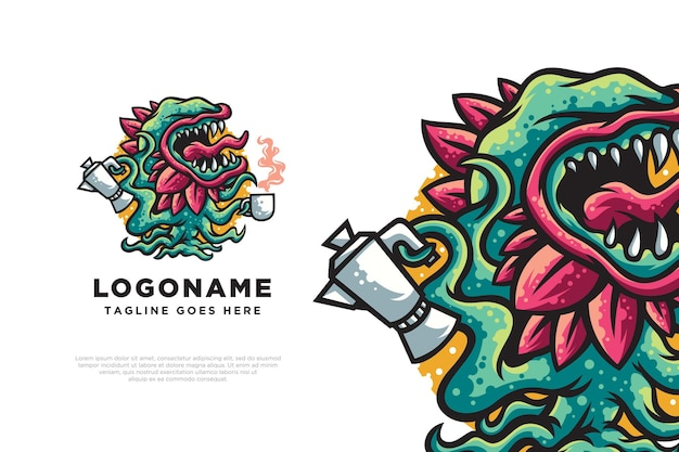 Ilustracja projektu logo potwora kawy