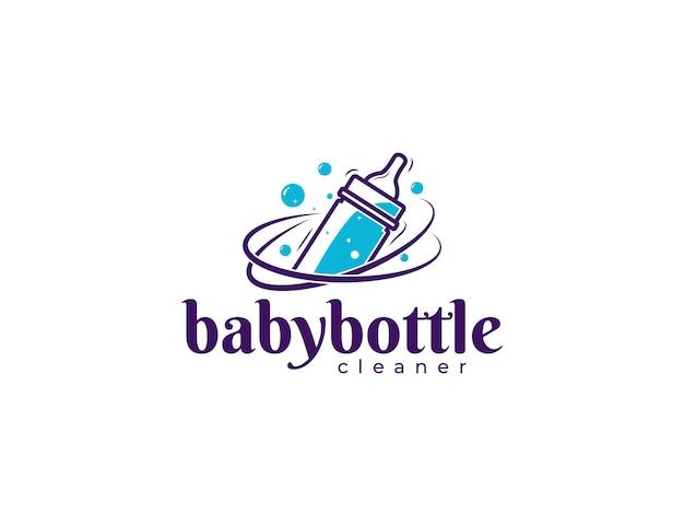 Ilustracja projektu logo usługi czyszczenia butelek dla niemowląt