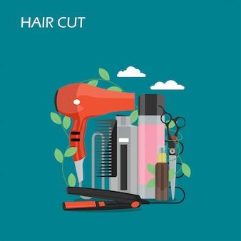 Ilustracja projektu płaski styl cięcia włosów