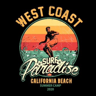 Ilustracja projektu surfingu, raj dla surferów