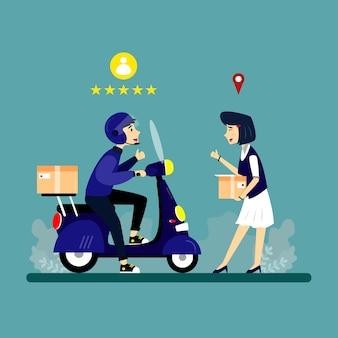 Ilustracja projektu usługi dostarczania postaci